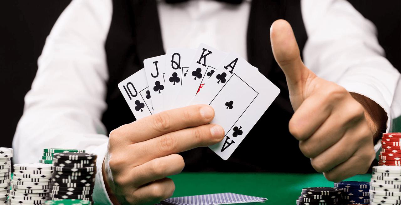 Daumenhoch am Casino Tisch