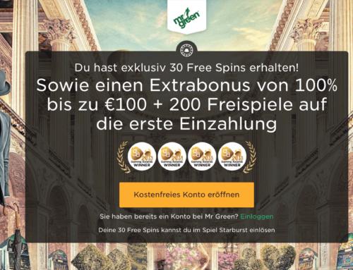 30 Freispiele im Casino von Mr Green