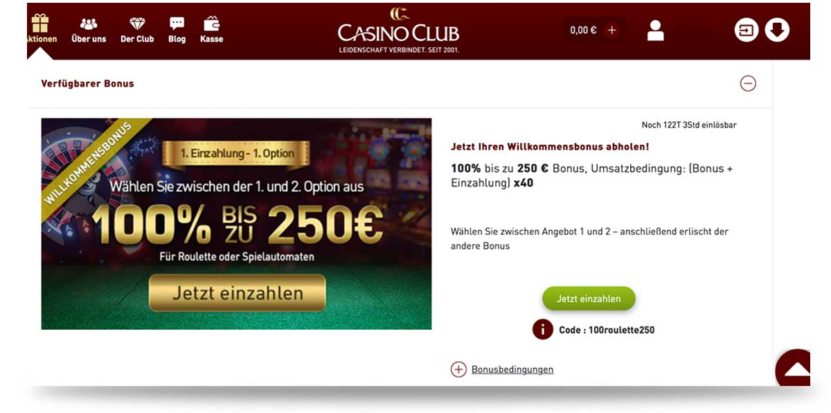 CasinoClub Bonus Code