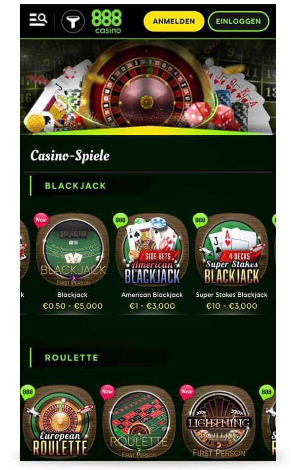 Spieleauswahl 888 Casino App
