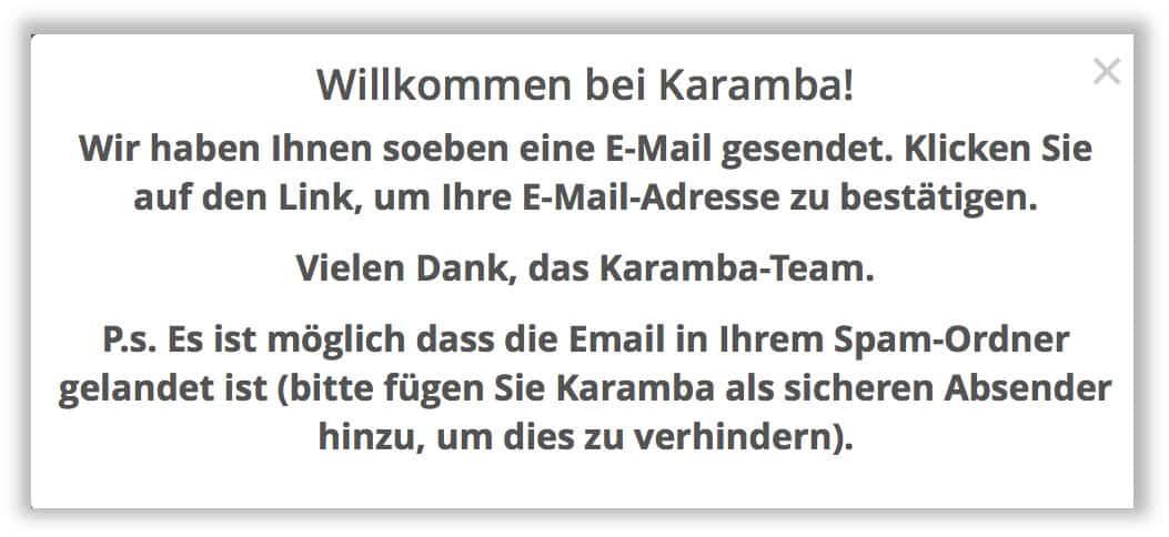 Willkommens E-Mail vom Karamba Casino