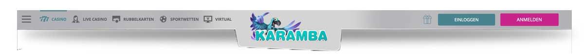 Menü im Karamba Casino