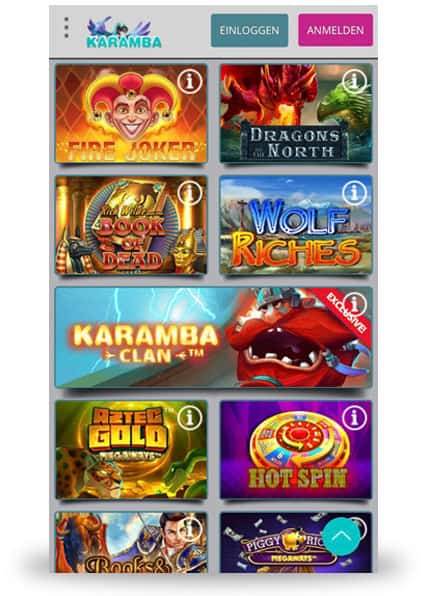 Karamba Mobile Casino Spieleauswahl