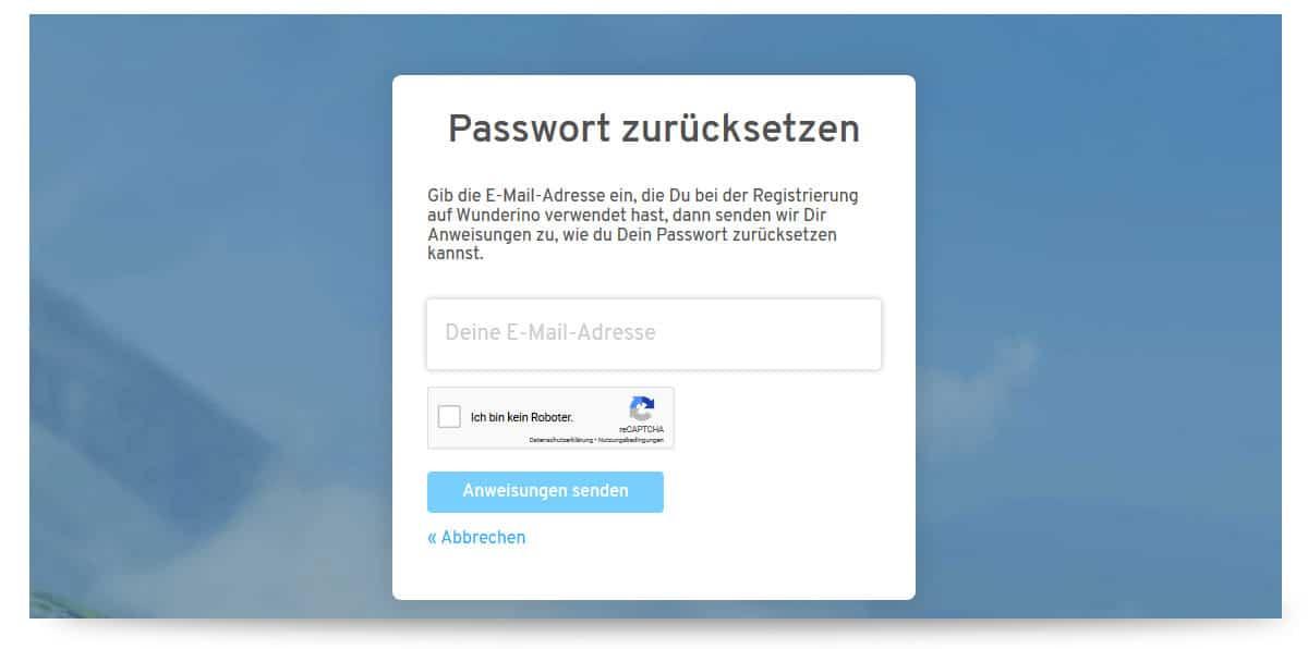 Passwort vergessen Wunderino