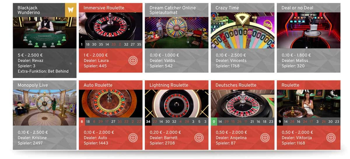 Live Casinos Wunderino