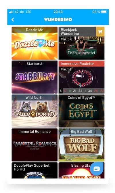 Spielauswahl Wunderino App