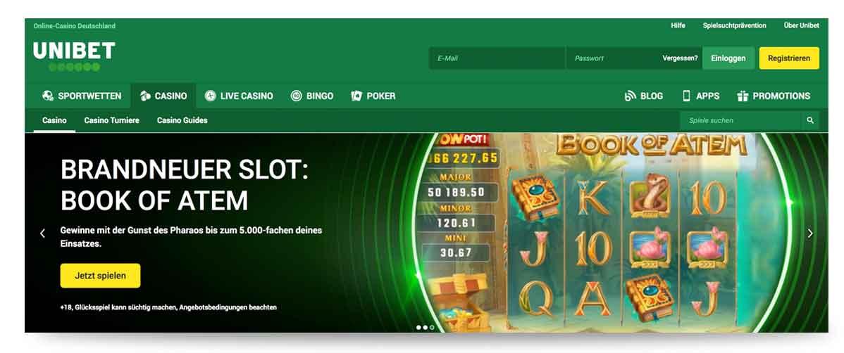 Unibet Casino Startseite